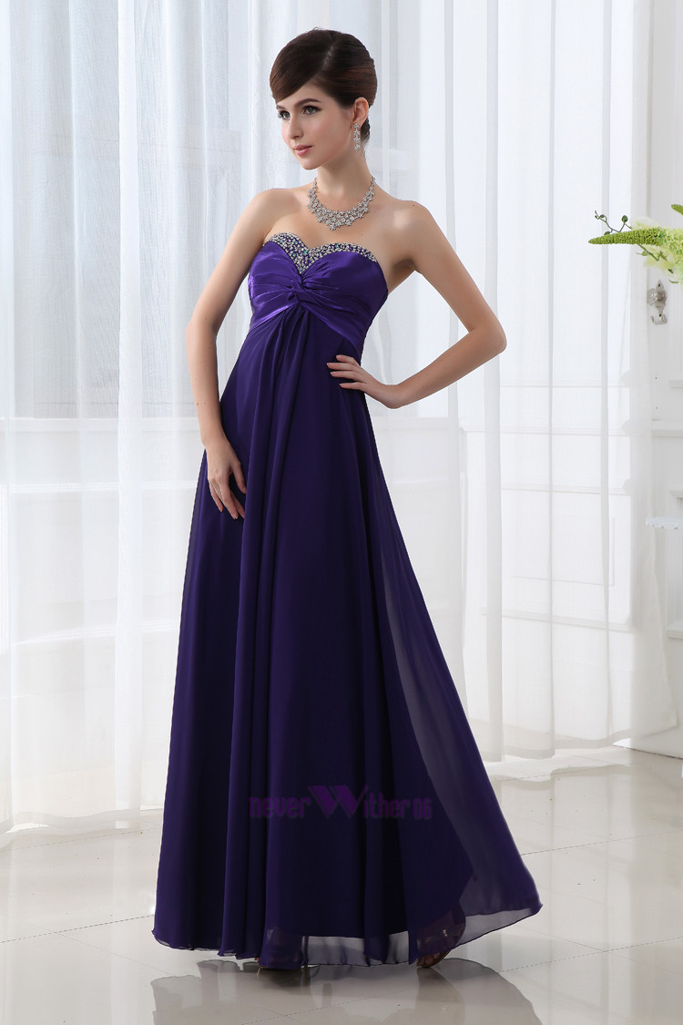 Cheap Purple Beads Chiffon Long Formal Evening Dresses Prom Dresses 2013 SD003 | eBay