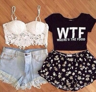 crop tops shorts shirt
