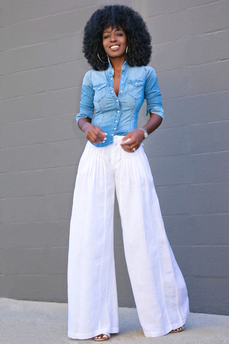blogger shirt pants shoes denim top button up wide-leg pants white pants black girls killin it