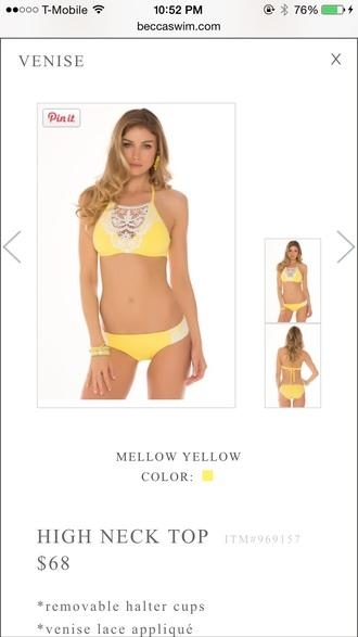 swimwear yellow halter swim top