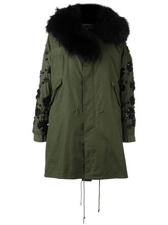 coat fur women embellished cotton green