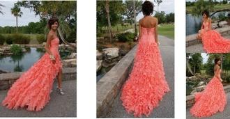 prom dress dress orange dress coral dress