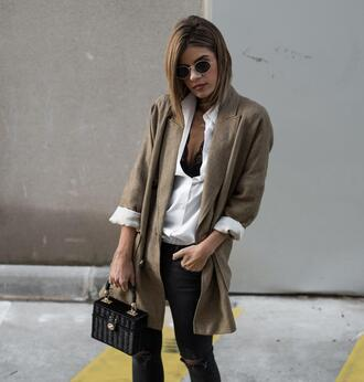 ms treinta blogger jacket shirt shoes jeans bag sunglasses handbag blazer white shirt