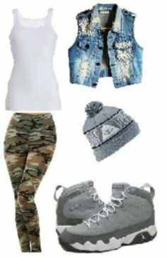 jacket studded denim jacket vest skully camouflage girly tomboy shoes hat jeans blouse top
