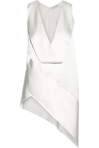 top white silk satin