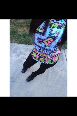shirt t-shirt top green pink blue shirt floral tank top aztec