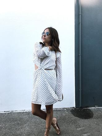 dress tumblr mini dress polka dots open back backless backless dress long sleeves long sleeve dress sunlgasses sandals flat sandals bag