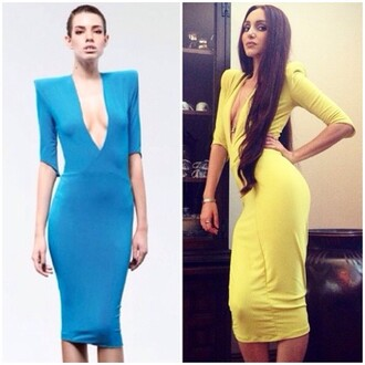 dress zhiv zhivago deep v neck dress sexy dress yellow dress blue dress shoulder pads high-fashion look calf length dress stunning dress special occasion dress beautiful dresss v neck dress