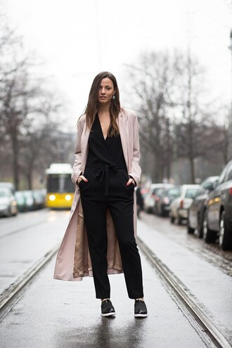 fashion vibe blogger black jumpsuit coat shoes jewels