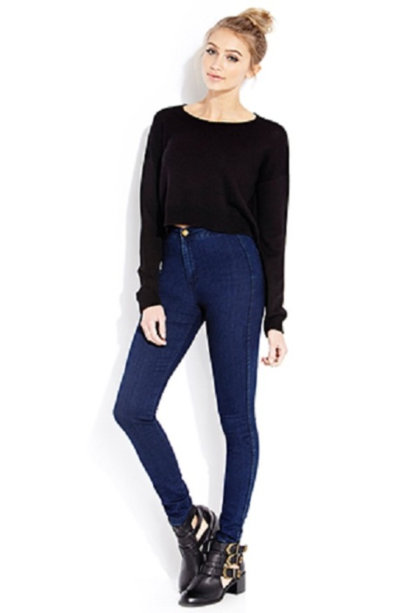jeans high waisted blue skinny girl fashion great pants clothes forever 21 sweater