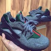shoes,nike shoes,gucci,nike,gucci sneaker,huarache,grey sneakers