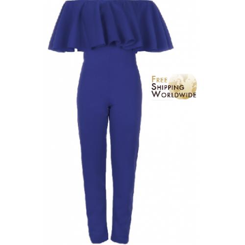 Frill stylish off shoulder celebrity jumpsuit
