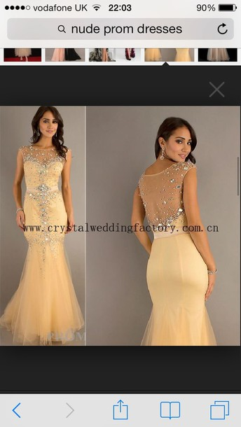 dress prom dress nude sparkle fishtail dress mermaid prom dress