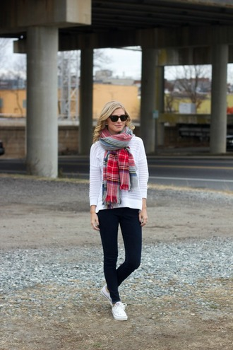 life with emily blogger sweater tartan scarf