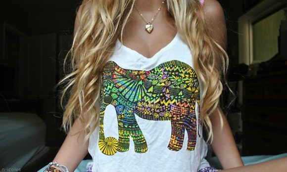 shirt bohemian elephants elephant hippie white boho pattern pattern t shirt tshirt hippy t-shirt hipster girl hair tropical animals blouse tanktop animal milticolor