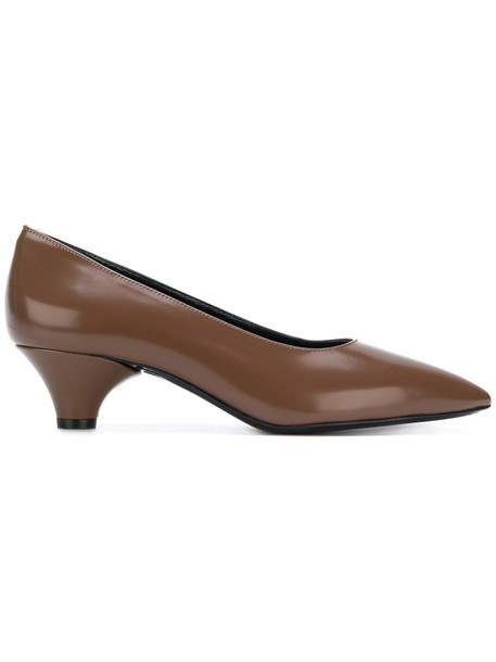 pointed toe pumps women pumps leather brown shoes