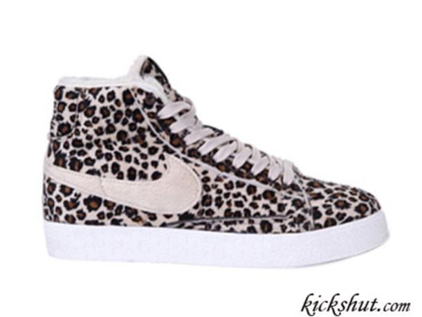 White Leopard Print Nike Shoes