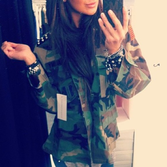 hip-hop fashion jacket camouflage dreamer girl studded military runwaydreamz festival vintage