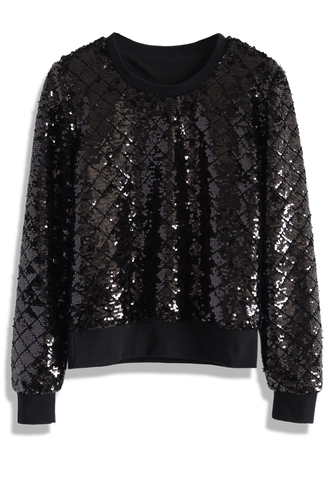 top sequins glow on black jumper chicwish sequins balck