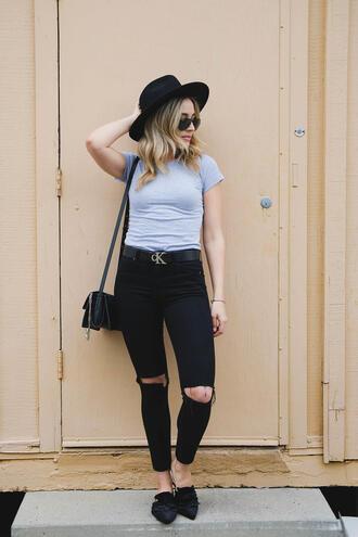 blondecollective blogger top pants hat sunglasses belt bag jewels shoes calvin klein felt hat shoulder bag loafers black jeans