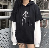 shirt,sweater,sweatshirt,black,fashion,layered,white,asian,japanese,japan,chinese,grunge