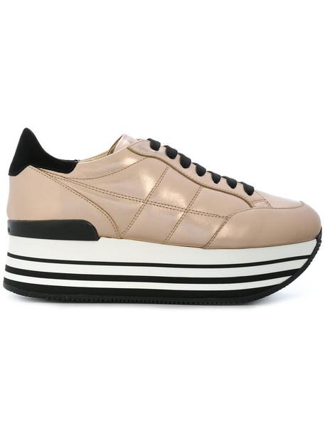 Hogan women sneakers leather grey metallic shoes