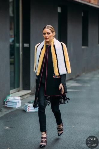 scarf fur scarf pants black pants coat black coat high heels olivia palermo streetstyle heels