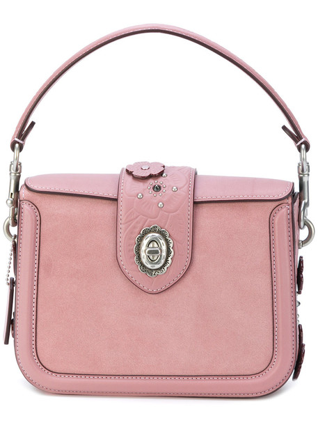 rose women tea bag crossbody bag leather purple pink