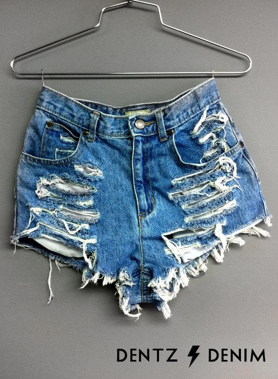 High waisted denim shorts  shredded by dentzdenim on etsy