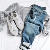 jeans,jumpsuit,shoes,shirt,grey,long sleeves,sweater,grey sweater,white shoes,casual,top,tumblr,tumblr outfit,cute outfits,aesthetic,fall outfits,knitwear,trendy,winter outfits,ripped jeans,vans,thick sweater,grey knit cropped