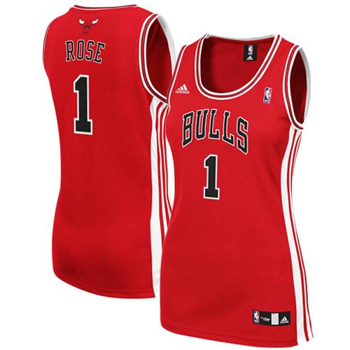 online retailer c32fb 25181 adidas Derrick Rose Chicago Bulls Women's Red Replica Jersey