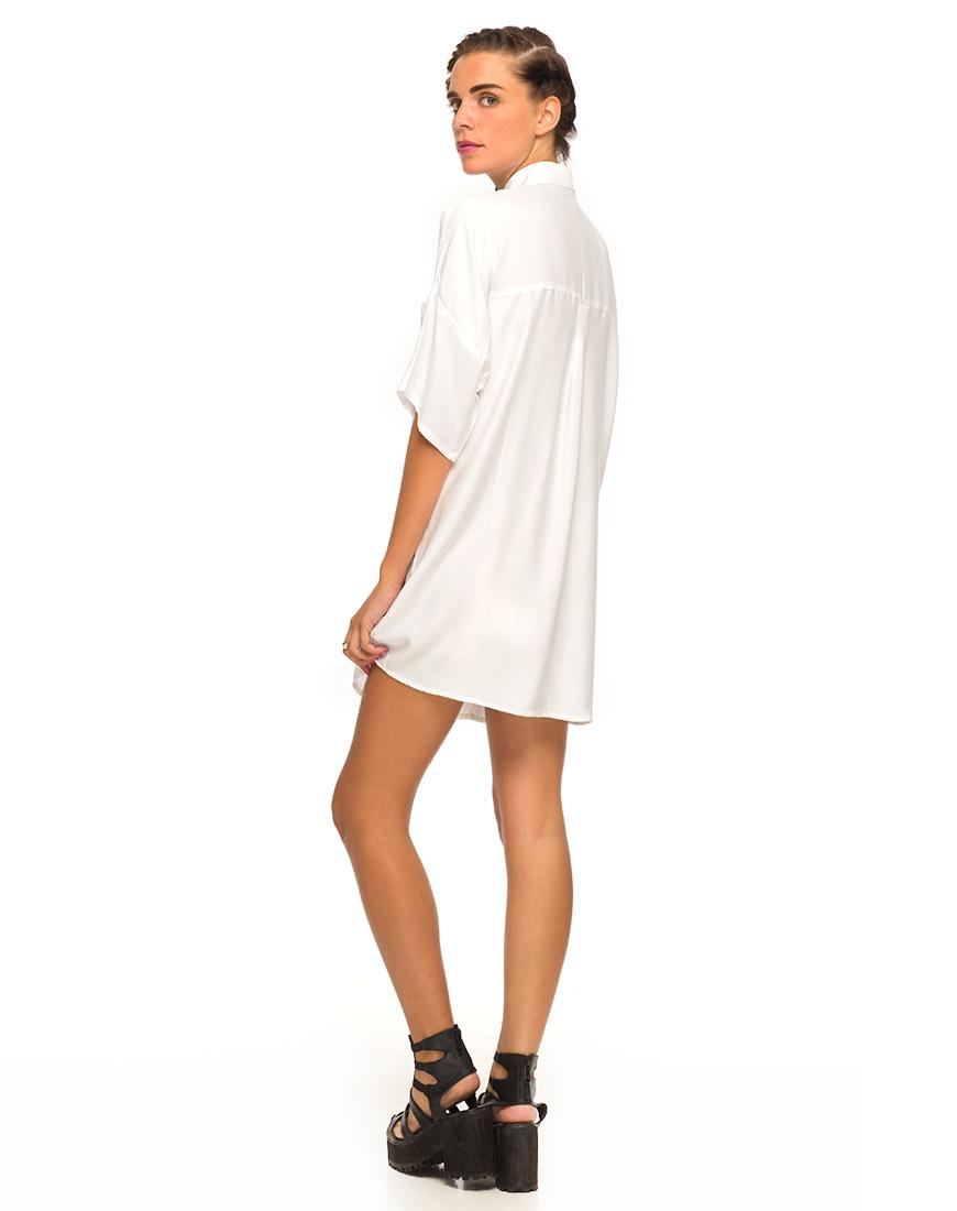 Motel Stella Shirt Dress in White