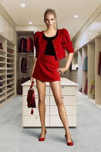 skirt jacket purse clutch high heels pantyhose top fashion style glamgerous