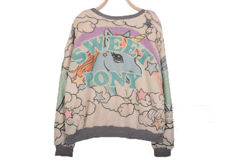 Magical Fantasy My Little Pony Unicorn Rabbit Crayon Pullover Jumper Top Sweater | eBay
