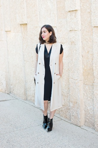 adventures in fashion blogger jacket jewels sleeveless coat black dress black boots patent boots pointed boots boots ankle boots vest nude vest v neck v neck dress