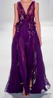 dress,purple,sheer,slit,deep v,neck,prom,evening outfits