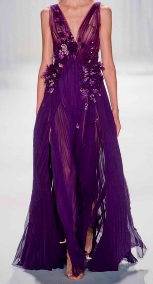 slits dress purple sheer deep v neck prom evening