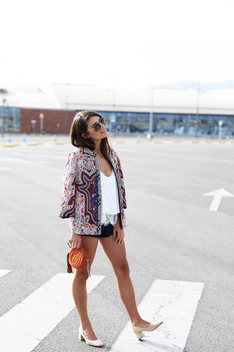 seams for a desire blogger embellished jacket mini shorts white lace top gucci bag mini bag medium heels travel boho jacket
