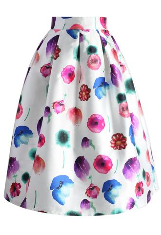 skirt rainbow of flowers pleated midi skirt chicwish midi skirt pleated skirt rainbow skirt floral skirt summer skirt spring skirt