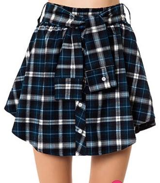 skirt skater plaid shirt buttons cute blue black green white tie