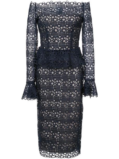 Monique Lhuillier dress peplum dress women lace blue