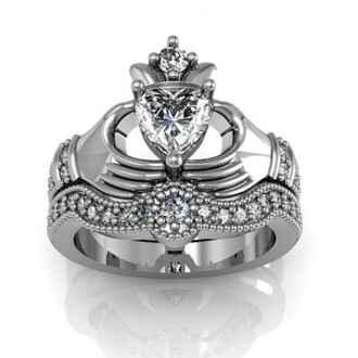 jewels heart diamond claddagh ring set claddagh ring set claddagh bridal ring set sterling silver heart women's claddagh ring/ engagement ring set with 18k platinum plated wedding ring set evolees.com