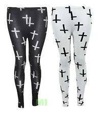 New Womens Ladies White & Black Cross Print Leggings 8-18 | eBay
