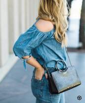 blouse,denim top,tumblr,blue top,denim,cut-out shoulder top,cut-out,bag,black bag,jeans,blue jeans,All denim outfit,monochrome,monochrome outfit