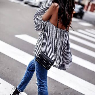 bag tumblr black bag shoulder bag top off the shoulder off the shoulder top stripes striped top denim jeans blue jeans blouse