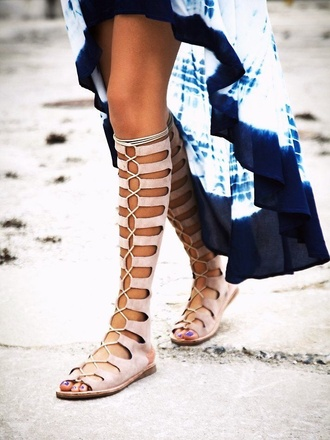 shoes gladiators sandals knee high lace up tie up string bohemian cute nude