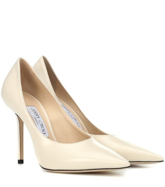 Jimmy Choo Ava 100 leather pumps in white