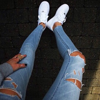 jeans ripped light blue jeans ripped jeans shoes