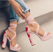 shoes,pink shoes,roses,heels,chunky heel,chic,cute