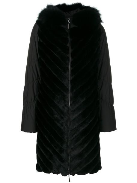 Liska coat fur fox women black